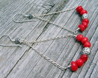 Red coral and sterling silver wire chandelier earrings, bollywood