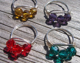Crystal and sterling silver wire wrapped birthstone ring, birthstone jewelry.