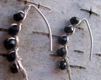 Black spinel earrrings black spinel jewelry sterling silver wire wrapped earrings