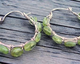 Peridot Earrings, wire wrapped hoop earrings, August birthstone, peridot jewelry