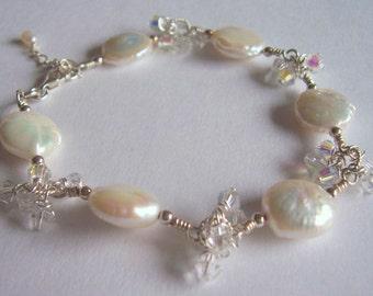Pearl and crystal sterling silver bracelet, wedding bracelet. pearl jewellery