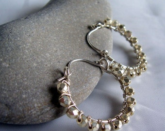 Silver crystal and sterling silver wire wrapped hoop earrings