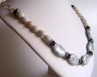 Howlite and crystal sterling silver necklace