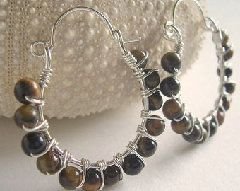 Tiger eye and sterling silver wire wrapped hoop earrings, tiger eye jewelry