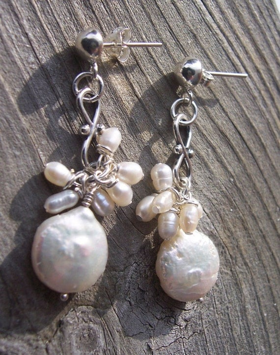 Pearl and sterling silver earrings, bridal jewelry, wedding jewelry
