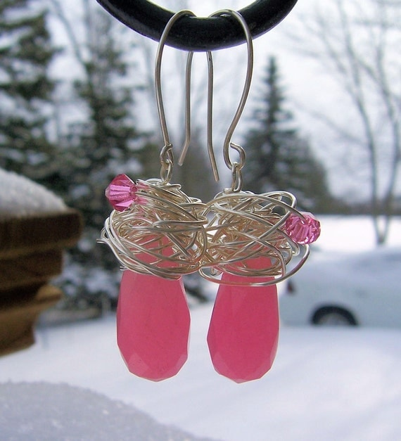Pink candy jade and sterling silver wire wrapped earrings, jade jewelry, valentines day