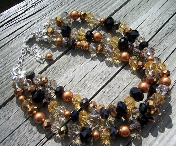 Mocha Crystal and pearl triple strand bracelet, cuff bracelet, pearl cuff bracelet