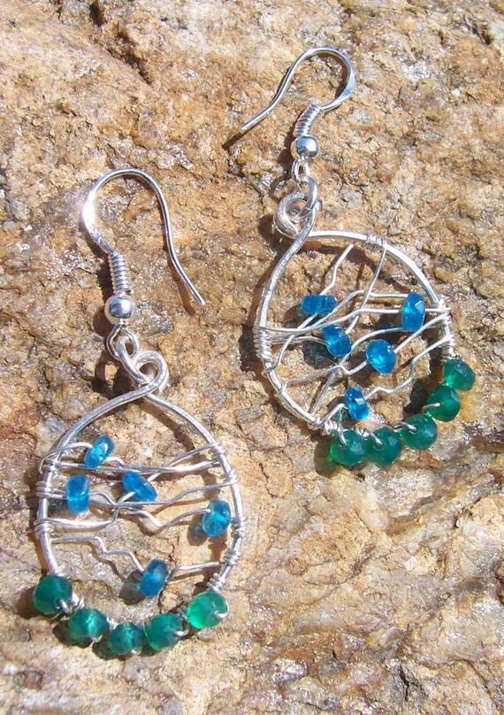 Blue apatite and green onyx wire woven hoop earrings, dreamcatcher earrings, woven earrings