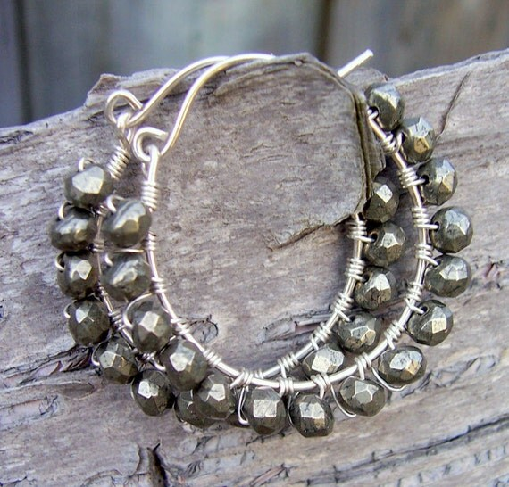 Pyrite and sterling silver wire wrapped hoops, pyrite jewelry