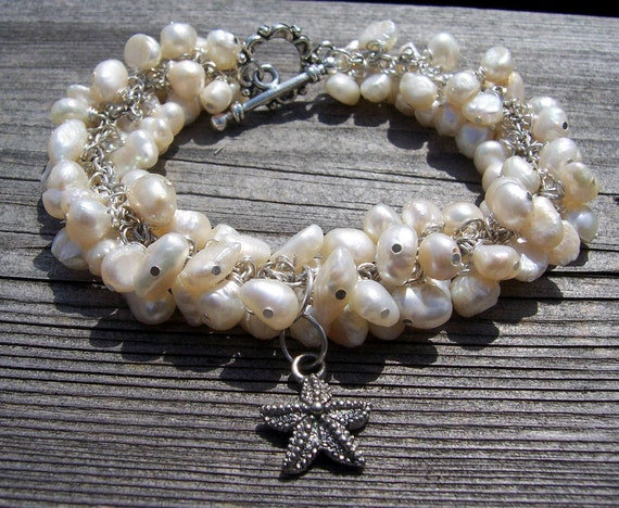Freshwater pearl and starfish bracelet beach wedding beach jewelry bridal jewelry