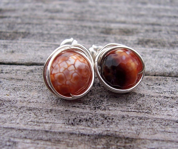 Faceted fire agate and sterling silver wire wrapped post earrings