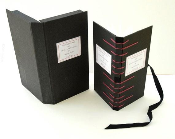 Custom Faces Leporello Wedding Guest Book in Clam Shell Box