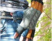 Knit fingerless gloves wool gray blue yellow charcoal