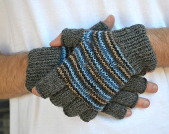Men's fingerless gloves Iron & Ice grey blue tan multicolor Christmas gift for him mens accessories