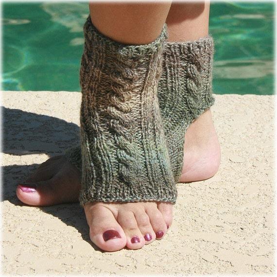 Yoga socks hand knit grey green shades Christmas gift toeless socks pilates socks