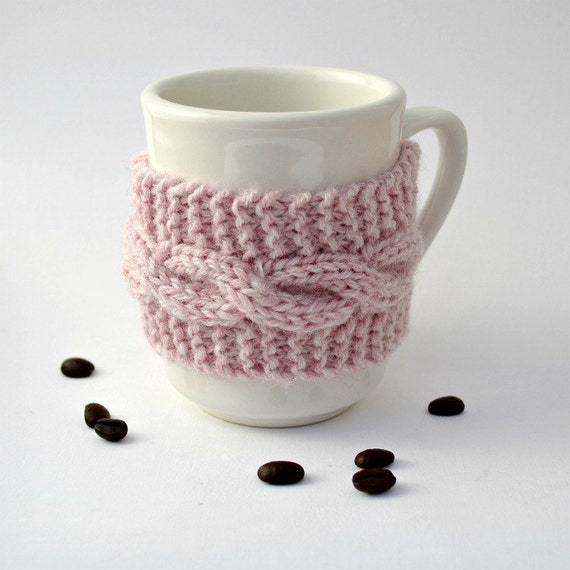 Coffee cup cozy pink brown button tea cup cozy mug cozy Christmas gift for her stocking stuffer winter holidays gift under 15 friends gift