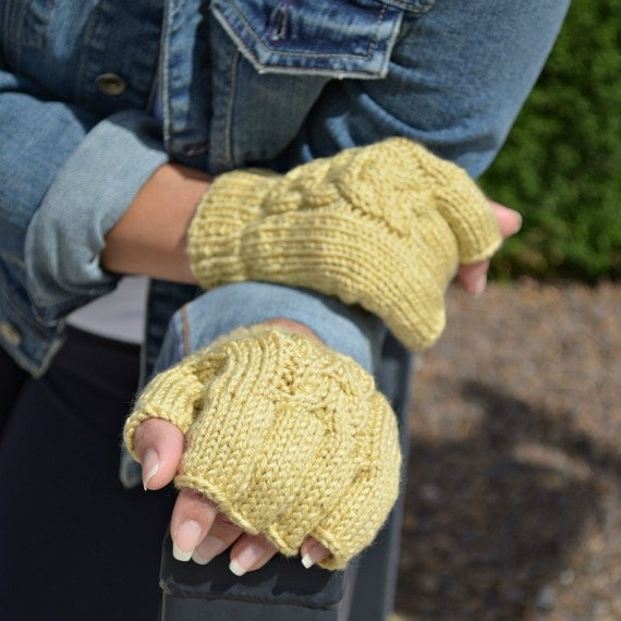 Knit fingerless gloves - pale yellow - gift for her - Fall - Christmas