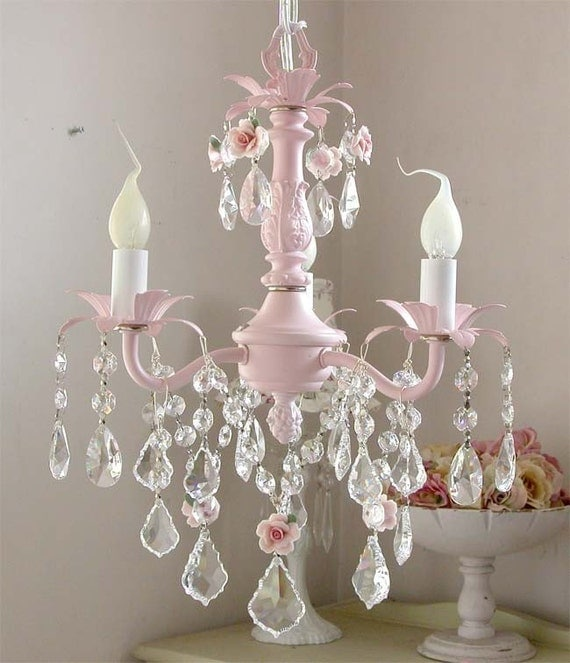 Darling PINK 3-light Baby Chandelier With Roses By