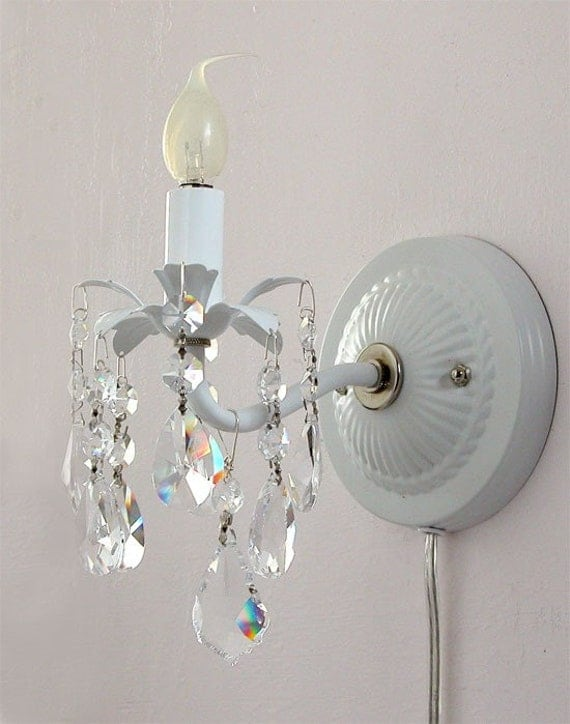 Crystal Wall Sconce Plug In : Pair of plug-in wall sconces with crystals