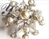 Faux Pearl Rhinestone Brooch Pin Super Sparkly Wedding Bouquet Jewelry Supply Assemblage Ready To Ship