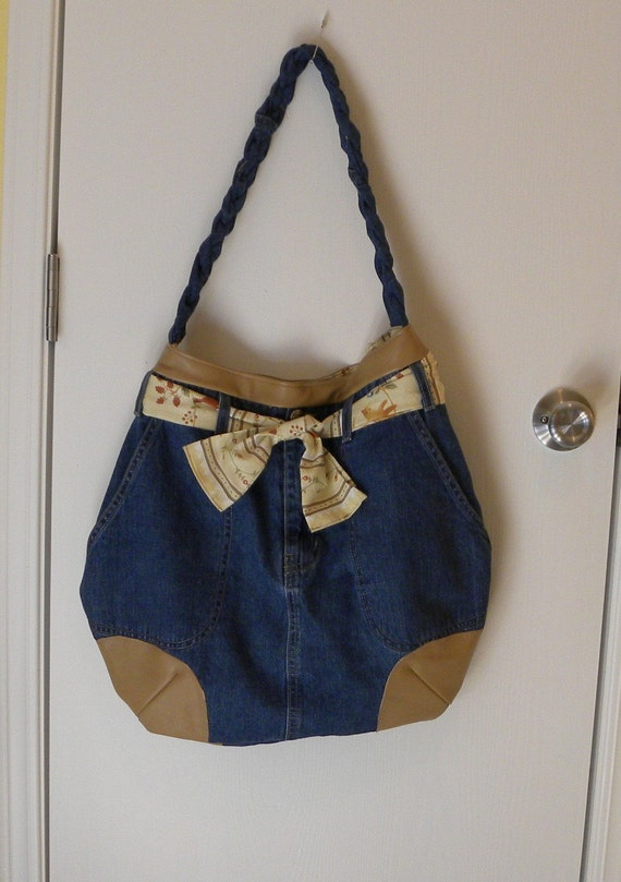 CLEARANCED PRICED -Handmade from a Recycled Tan Leather Jacket and Denim Skirt - Handbag - Tote - Hobo - Diaper Bag - READY TO SHIP