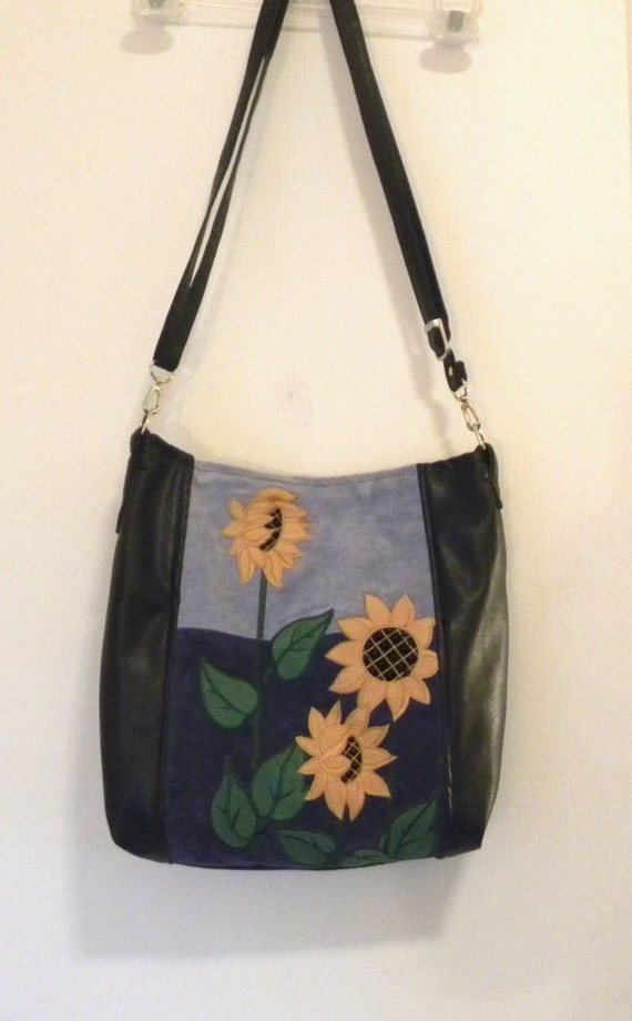 Handmade Black and Blue Leather Sunflower Jacket Handbag - Hip Bag - Messenger