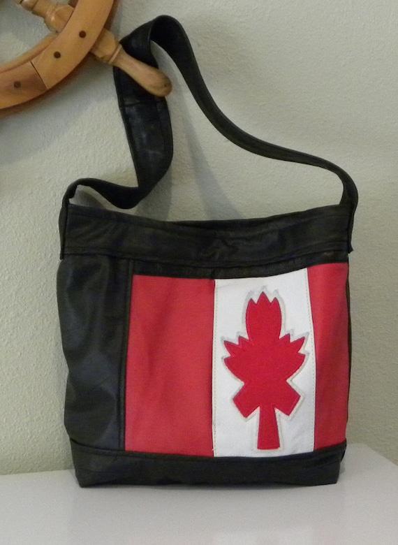 Handmade Genuine Leather Canadian Maple Leaf Tote Bag - Bucket Bag