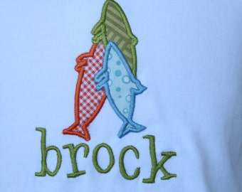 Boys Personalized Fish on Stringer Shirt Size 12M-6