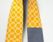 Camera Strap Cover with Lens Cap Pocket - Metro Living Circles in Marigold / Charcoal Grey