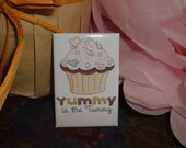 YUMMY IN THE TUMMY CUPCAKE MAGNET - Fridge Candy - Scented Sweet Sixteen