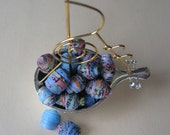 CUSTOM for Lilou  Shipwrecked Blue Paper Eco Beads