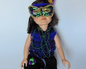 "Mardi Gras Canival 18"" Doll Crocheted Outfit Costume with Feathers,Mask,Beads"