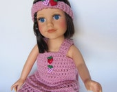 Valentine's Day Heart 18 Inch Doll Crocheted Skirt, Top, Shoes, Headband