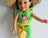 "Cupcake AMG 18"" Doll 3 Piece Crocheted Lemon Lime Outfit"
