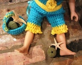 Vintage Style 18 Inch Doll Sun Beach Outfit Crocheted