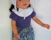 Doll  18 Inch Dress Pioneer Prairie Colonial Apron, Bonnet