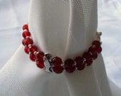 Crimson Crazy - Double Strand bracelet with Lead-Free Czech beads
