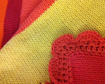 Pumpkin Spice - Baby Blanket Knitted Cotton Multi-Colored for a Girl (swaddle size)