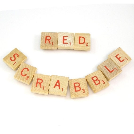Red Scrabble Letters - Choose your letters and quantity