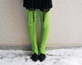 4-DAY SALE 90% off - S-M Thigh High Lace Up Leg Warmers in Bright Green - Ready to ship