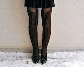 SALE 75% off - S-M Thigh High Lace-Up Leg Warmers in Chocolate Brown - Ready to ship