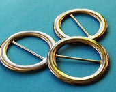 Set of three round belt buckles - 2 inches