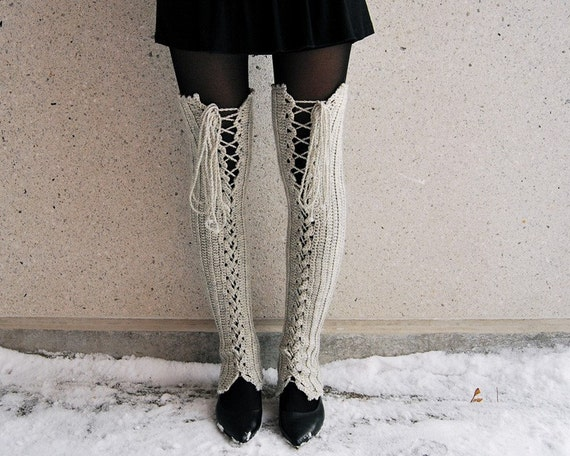 CLOSING SALE - S-M Thigh High Lace Up Leg Warmers in Very Light Grey - READY TO SHIP