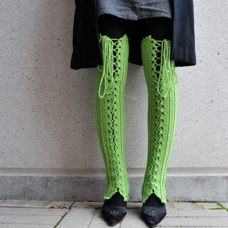 Thigh High Lace Up Leg Warmers In Bright Green