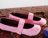 Mary jane slippers in pink and brown with vintage pink fabric. Children size 8