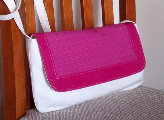 Crossbody clutch in organic fabrics. Pink and white. 100% made in Italy. Eco friendly bag. Discount
