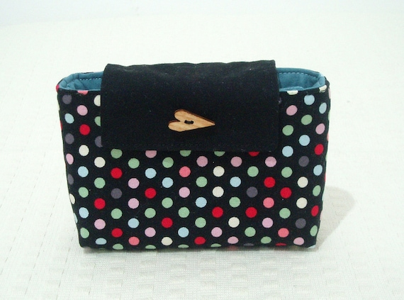 RESERVED hard-disk case in black fabric with multicoloured dots. Light blu lining