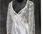 Stefani and Sila Originals Embroidery Chiffon and Charmuese Peignoir Set