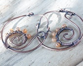 Antique hoop earrings - Oxidized Wire Wrapped Copper Hoop Earrings with hammered beaded spiral - Wirework copper jewelry