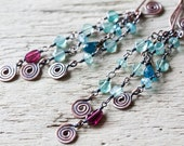 Long Dangle Earrings - Delicate Natural Pastel Teal Blue Apatite Gemstone Beads - Artisan wirework jewelry, light blue